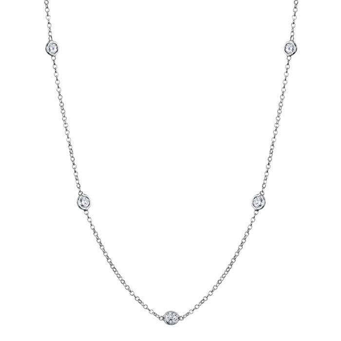 Diamond Station Necklace, G-H/I1, .85 cttw Diamond Station Necklaces deBebians