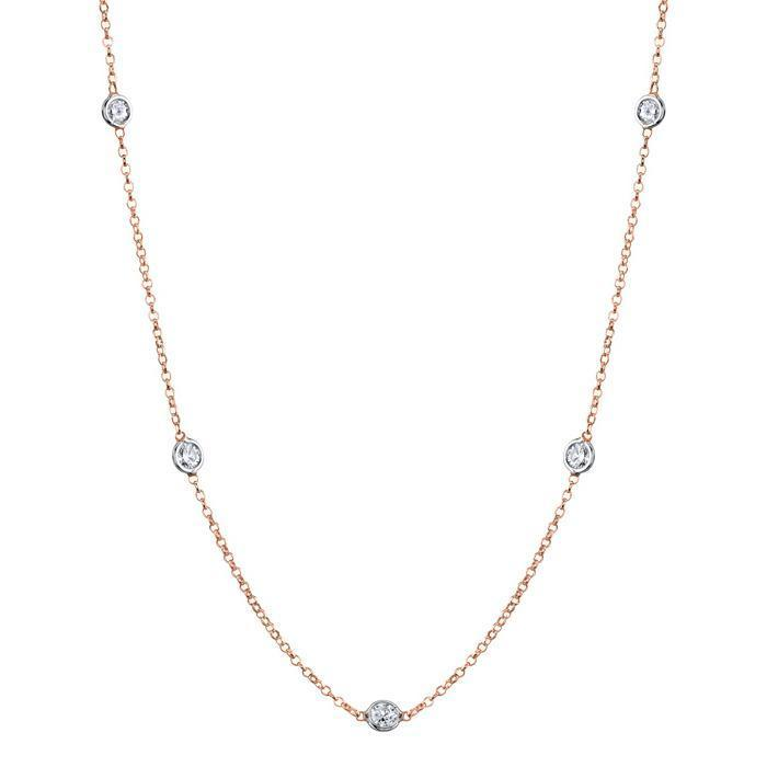 Diamonds by the Inch Necklace, G-H/I1, 1.40 cttw Diamond Station Necklaces deBebians