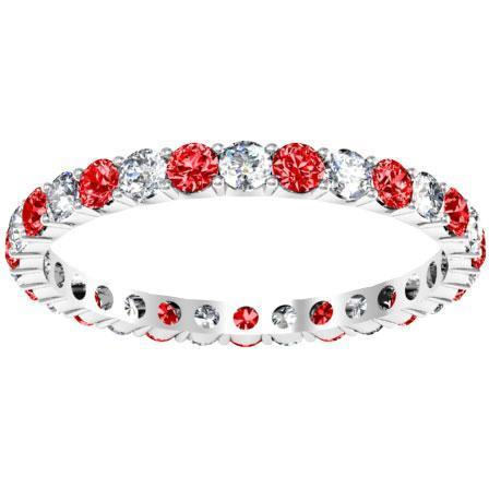 Diamond Eternity Wedding Ring with Rubies 1.00cttw Gemstone Eternity Rings deBebians