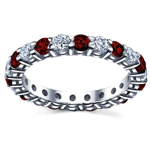 Diamond Eternity Wedding Ring with Rubies 2.00cttw Gemstone Eternity Rings deBebians