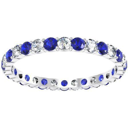 Diamond Eternity Wedding Ring with Sapphires 1.00cttw Gemstone Eternity Rings deBebians