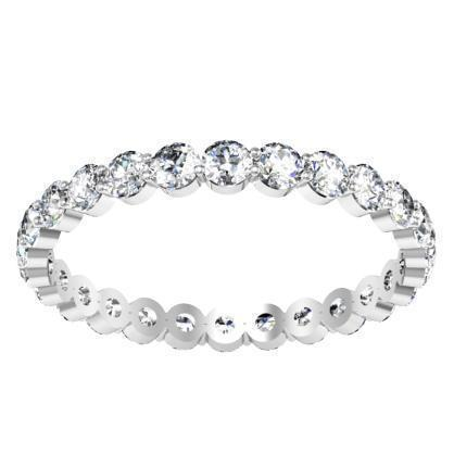 Channel Set Eternity Ring with Round Diamonds and Aquamarines