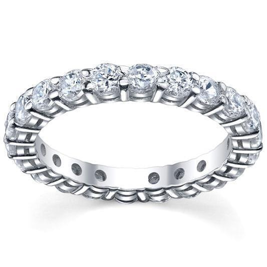 Round Shared Prong Diamond Eternity Band - 2.00 carat - I1 Clarity Diamond Eternity Rings deBebians