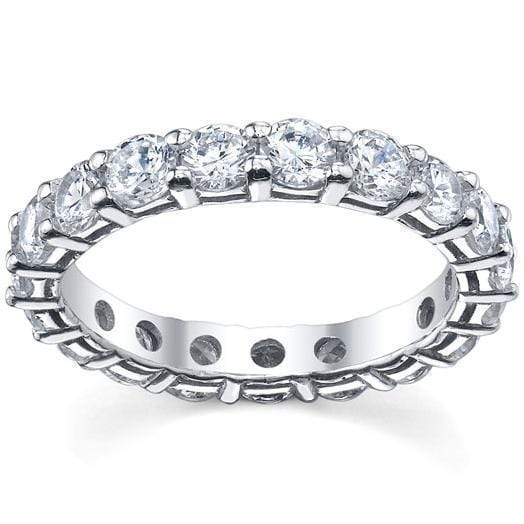 Round Shared Prong Diamond Eternity Band - 3.00 carat - I1 Clarity Diamond Eternity Rings deBebians
