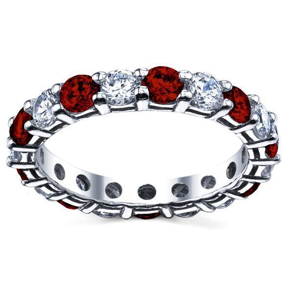 3 Carat Diamond and Ruby Eternity Ring Gemstone Eternity Rings deBebians