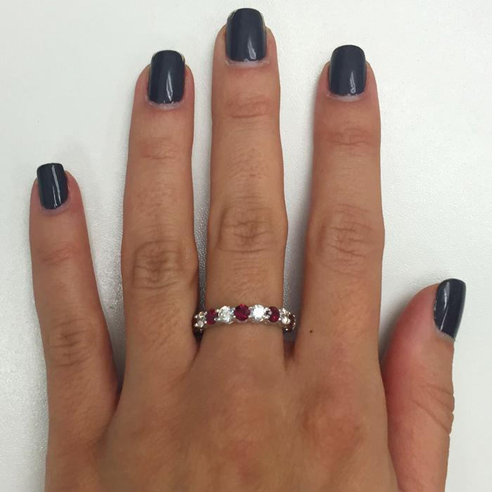 3 Carat Diamond and Ruby Eternity Ring