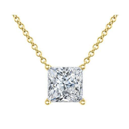 Certified Princess Cut Diamond Solitaire Pendant Solitaire Necklaces deBebians