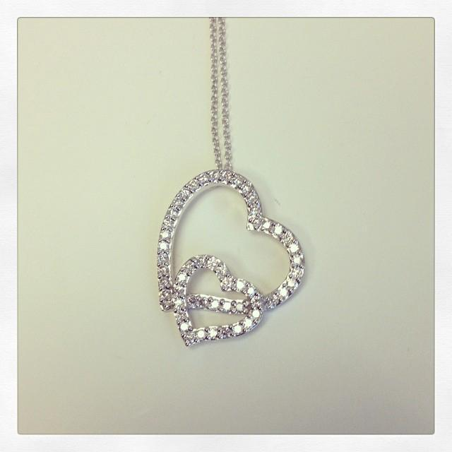 Diamond Double Heart Necklace Diamond Necklaces deBebians