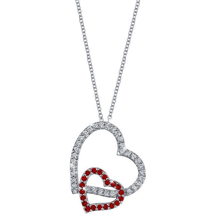 Double Heart Pendant with Diamonds & Rubies featuring 16 Inch Chain