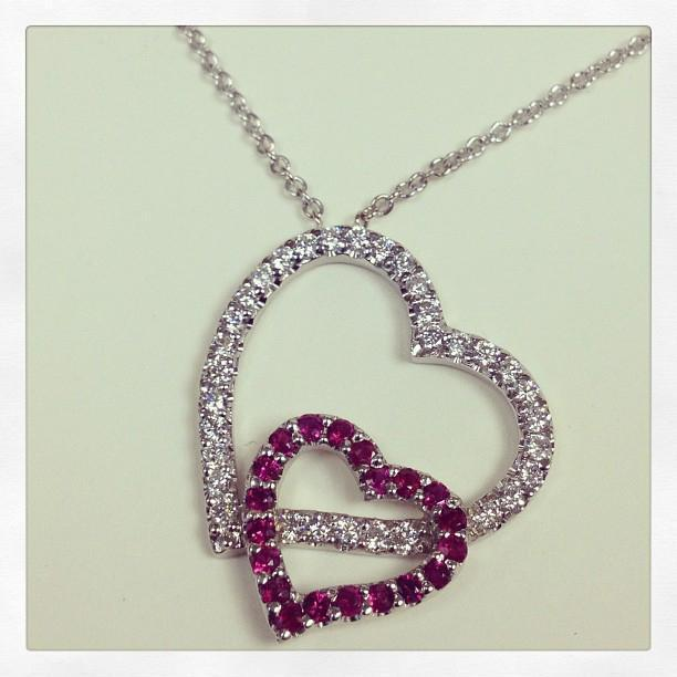Double Heart Pendant with Diamonds & Rubies featuring 16 Inch Chain Diamond Necklaces deBebians