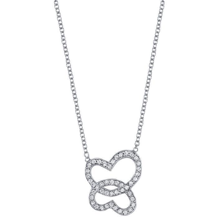 Diamond Double Heart Pendant Diamond Necklaces deBebians