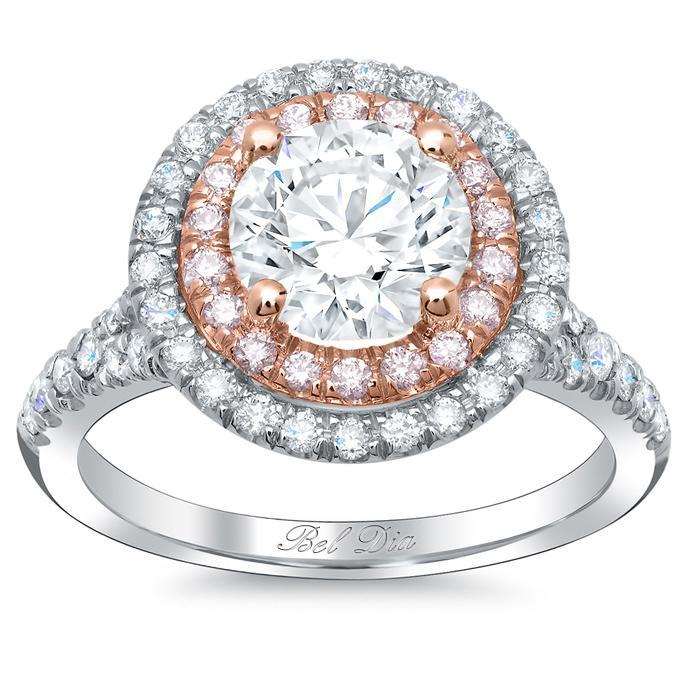 Double Halo Engagement Ring with Pink Diamonds for Round Double Halo Engagement Rings deBebians