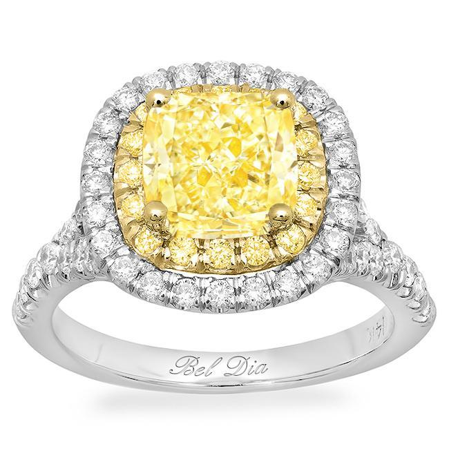 Double Halo Engagement Ring with Yellow Diamond Halo for Fancy Yellow Diamond