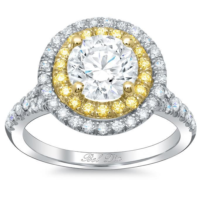 Double Halo Engagement Ring with Yellow Diamonds for Round Double Halo Engagement Rings deBebians