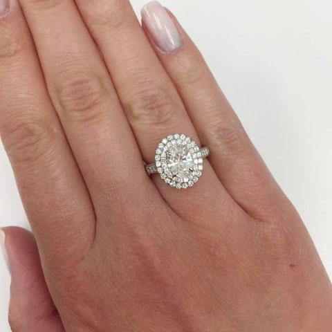 9cca845f57557 Double Halo Oval Engagement Ring with Milgrain and Pave Accents