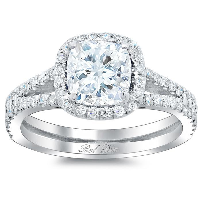Double Shank Cushion Diamond Engagement Ring Halo Engagement Rings deBebians