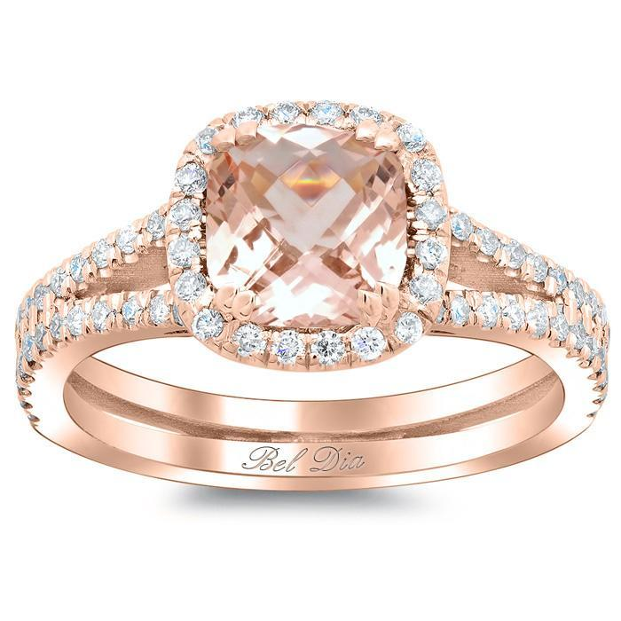 Double Shank Morganite Cushion Halo Engagement Ring Rose Gold & Morganite Engagement Rings deBebians