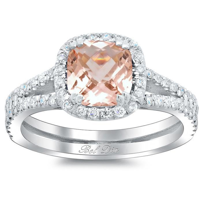 Double Shank Morganite Cushion Halo Engagement Ring
