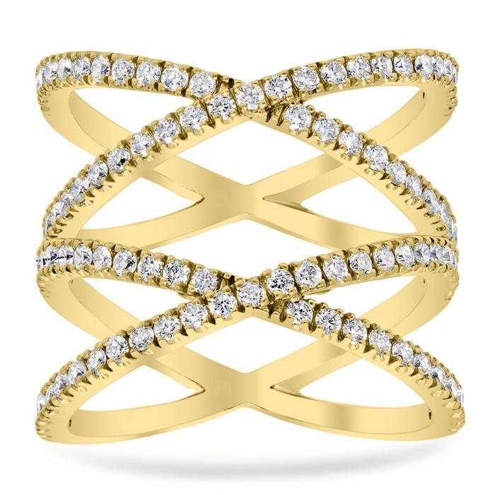 Double X Pave Ring Diamond Wedding Rings deBebians