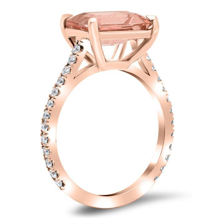 East-West Morganite Engagement Ring Rose Gold & Morganite Engagement Rings deBebians
