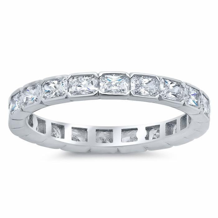 Radiant Cut Semi-Bezel Set Diamond Eternity Band - 2.40 carat Diamond Eternity Rings deBebians