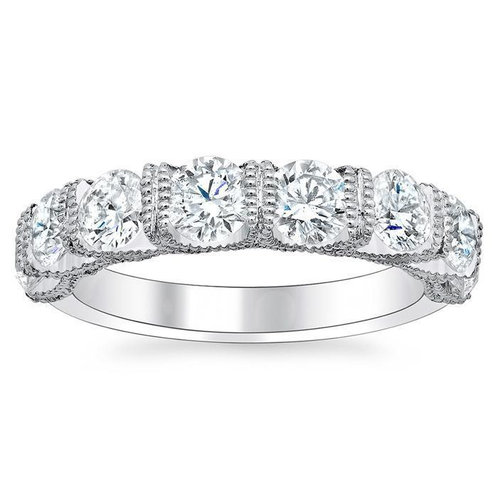 Eight Stone Wedding Band with Milgrain Diamond Wedding Rings deBebians