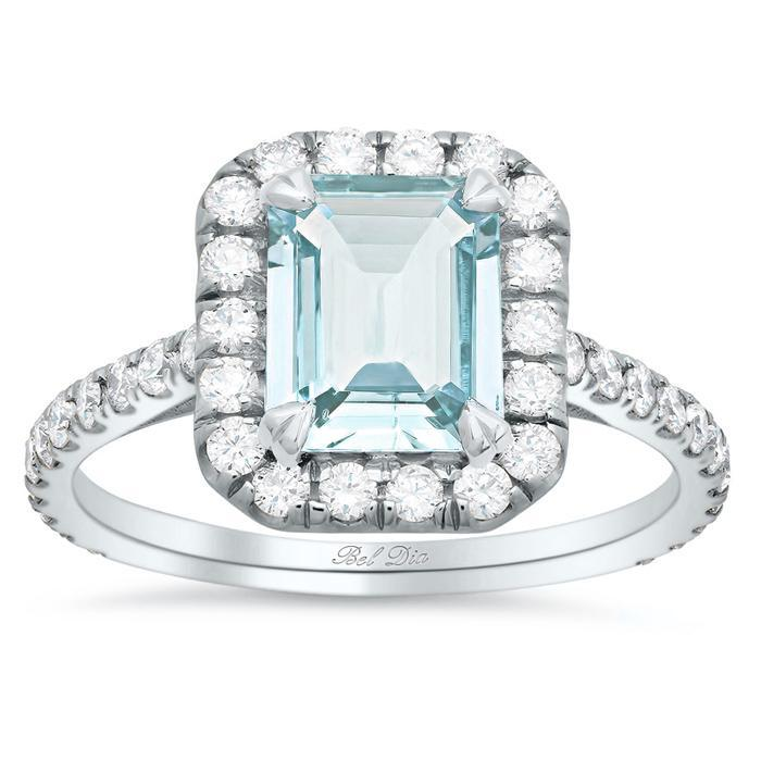 Emerald Cut Aquamarine Pave Diamond Halo Engagement Ring Aquamarine Engagement Rings deBebians
