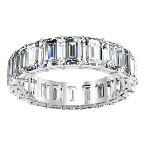Emerald Cut Shared Prong Diamond Eternity Band - 6.00 carat Diamond Eternity Rings DeBebians