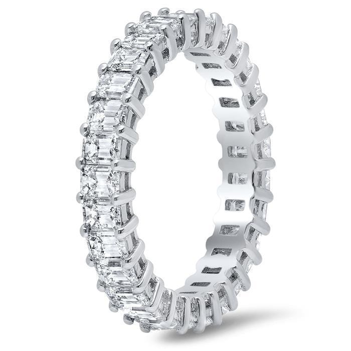 Emerald Cut Shared Prong Diamond Eternity Band - 3.00 carat Diamond Eternity Rings DeBebians