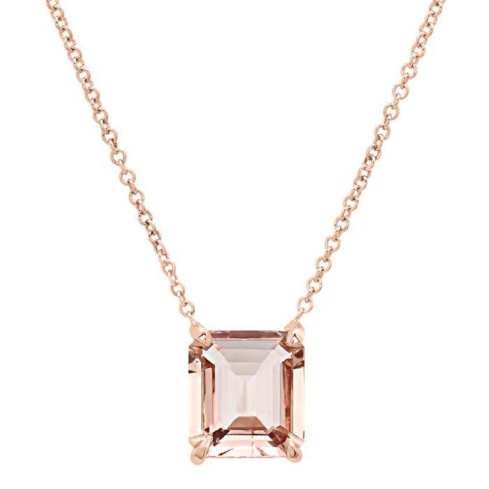 Emerald Cut Gemstone Solitaire Necklace Solitaire Necklaces deBebians