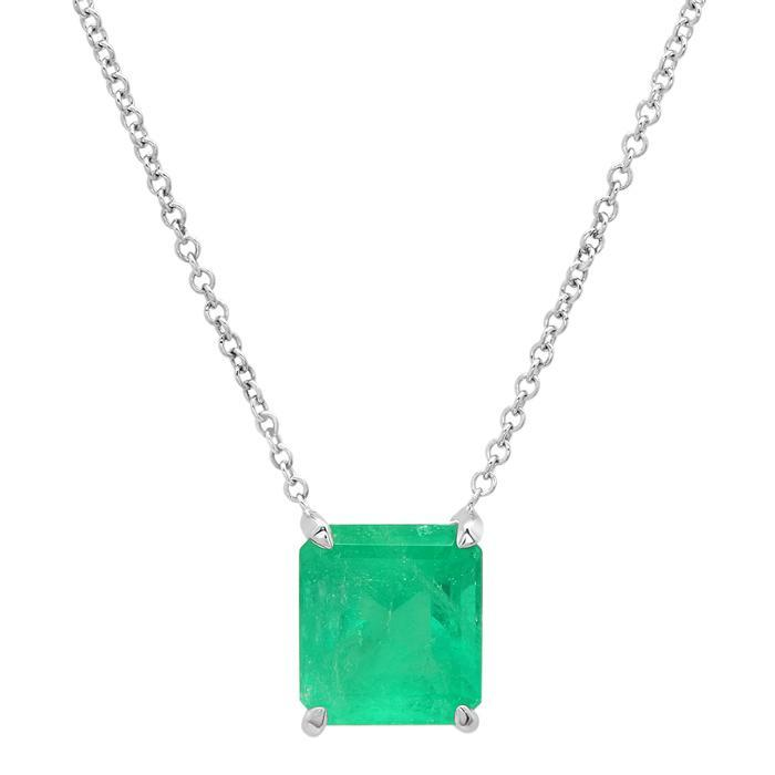 Emerald Cut Gemstone Solitaire Necklace