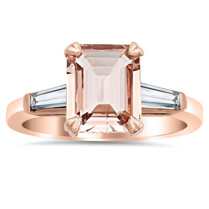 Emerald Cut Morganite & Diamond Three Stone Ring 18kt Rose Ready-To-Ship deBebians