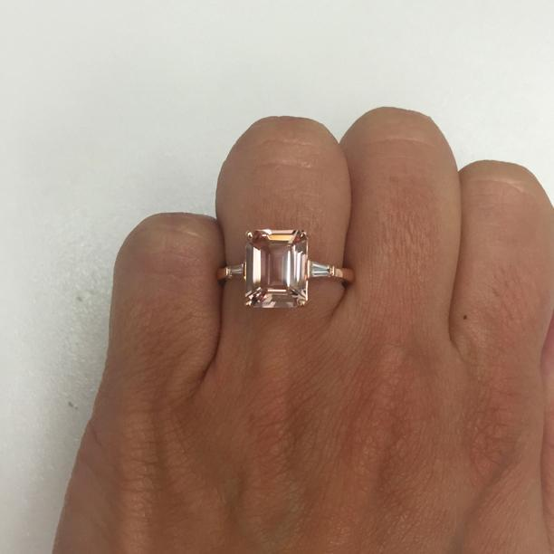 Emerald Cut Morganite and Baguette Three Stone Engagement Ring Rose Gold & Morganite Engagement Rings deBebians