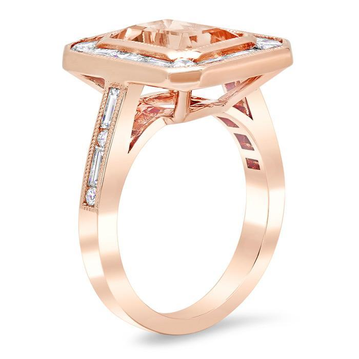 Emerald Cut Morganite Baguette Diamond Halo Rose Gold Engagement Ring Rose Gold & Morganite Engagement Rings deBebians