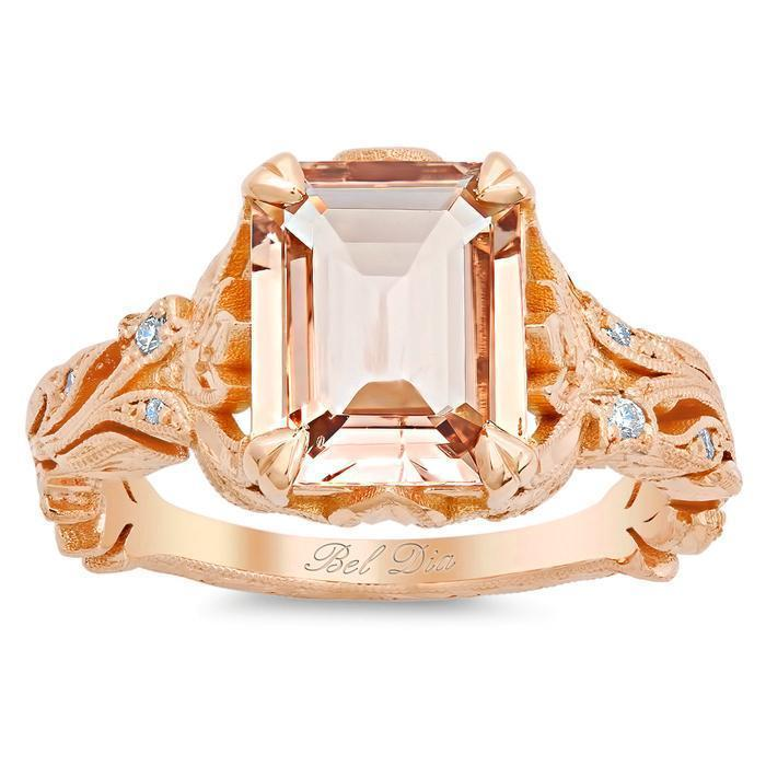Emerald Cut Morganite & Diamond Leaf Ring 14kt Rose Gold Ready-To-Ship deBebians