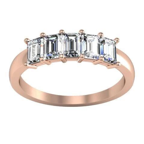 1.00cttw Shared Prong Emerald Cut Diamond Five Stone Ring Five Stone Rings deBebians