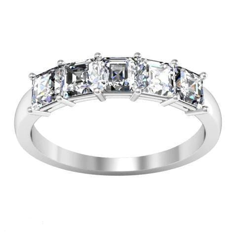1.00cttw Shared Prong Asscher Cut Diamond Five Stone Ring Five Stone Rings deBebians