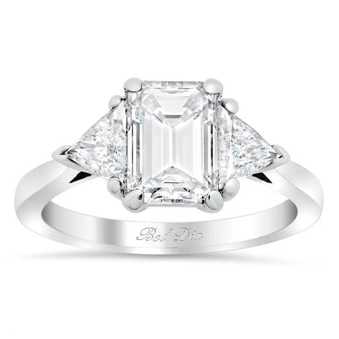Diamond Three Stone Ring with Trillions Diamond Accented Engagement Rings deBebians