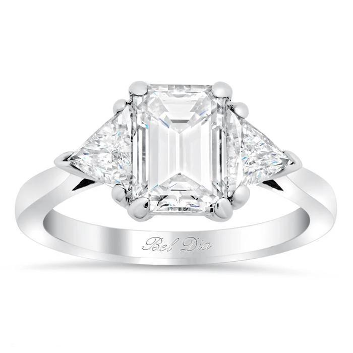 Three Stone Emerald Cut & Trillion Moissanite Forever One Engagement Ring Moissanite Engagement Rings deBebians