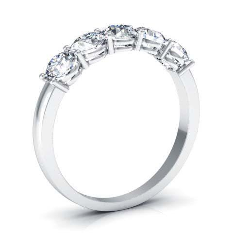 1.00cttw Shared Prong Round GIA Certified Diamond Five Stone Ring Five Stone Rings deBebians