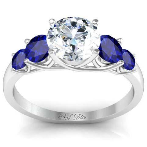 Trellis Setting Diamond Engagement Ring With Sapphire Accents