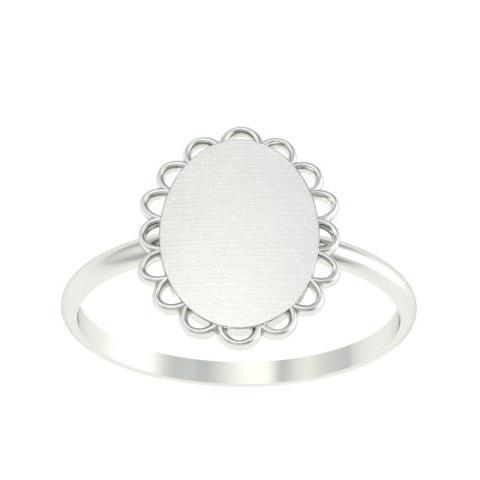 Scallop Framed Signet Rings Women Signet Rings deBebians