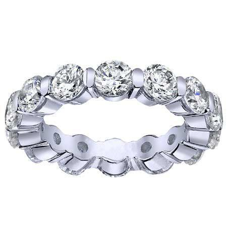 Round Single Prong Diamond Eternity Band - 4.00 carat - I1 Clarity Diamond Eternity Rings deBebians