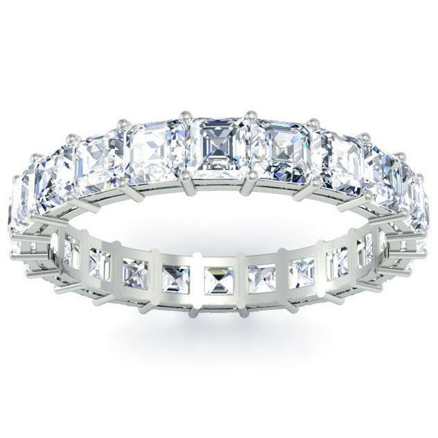 Asscher Cut Shared Prong Diamond Eternity Band 2.60 cttw Diamond Eternity Rings deBebians