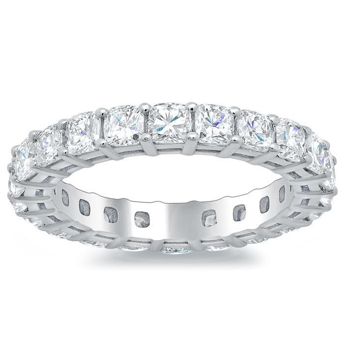 Cushion Cut Shared Prong Diamond Eternity Band - 2.60 carat - SI Clarity Diamond Eternity Rings deBebians