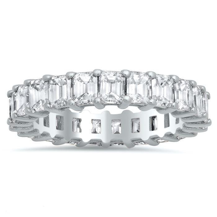 Emerald Cut Shared Prong Diamond Eternity Band - 4.00 carat Diamond Eternity Rings DeBebians