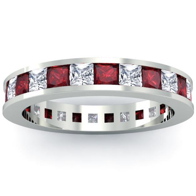 Eternity Birthstone Ring with Diamonds and Garnets Gemstone Eternity Rings deBebians