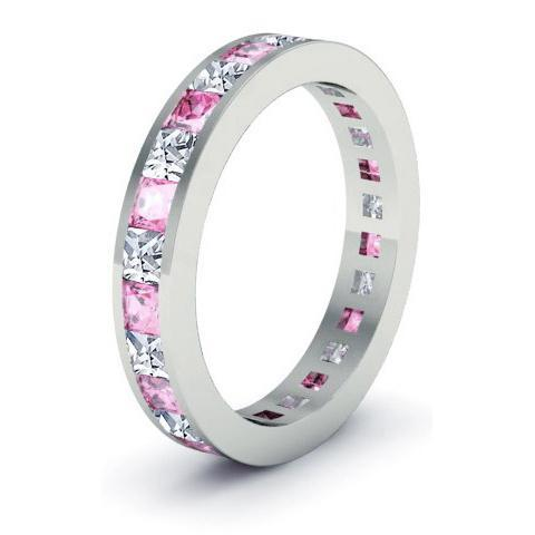 Eternity Birthstone Ring with Diamonds and Pink Sapphires Gemstone Eternity Rings deBebians