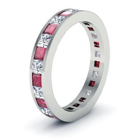 2.25cttw Channel Set Eternity Band with Princess Rubies and Diamonds Gemstone Eternity Rings deBebians