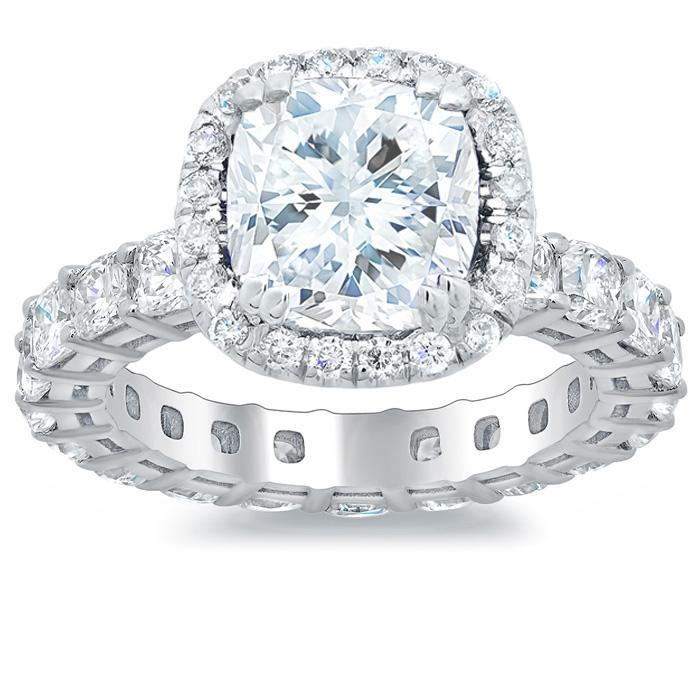 Eternity Engagement Ring with Cushion Diamonds Halo Engagement Rings deBebians
